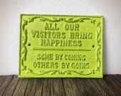 BOLD Visitors wall plaque sign // chartreuse lime green // cast iron wall decor // metal sign // housewarming gift // rustic shabby chic