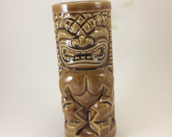 Tiki mug Orchids of Hawaii Japan Hawaiian god Ku Polynesian exotic bar ware