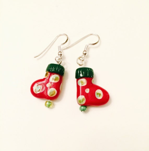 Red Christmas stocking earrings, Green Christmas stocking earrings, Ceramic earrings
