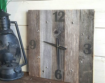 Reclaimed Wood Wall Clock || Large Wood Clock, Farmhouse Clock, Industrial Clock, Oversize Wall Clock, Housewarming Gift, Faux Leather