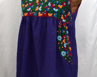 "Mexican Peasant Top Blouse Sleeveless Hand Embroidered: ""La Sirena"" in Purple"