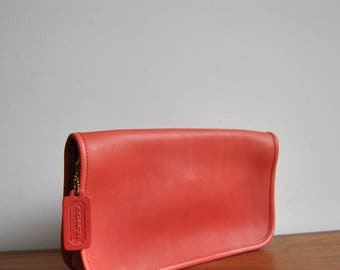 Rare Red Coach Fold Over Clutch with Kisslock Coin Purse Made in NYC, USA