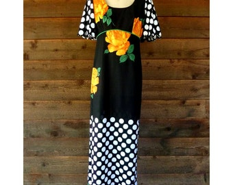 Vintage Maxi-dress, black with Orange Flowers and White Polka Dots, Ronian Originals, Size S