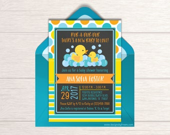 Rubber Ducky Shower Invitation - Printable Chalkboard Duck Invite - Rub A Dub Dub - Baby Sprinkle Ideas - Gender Neutral Baby Shower - BS43