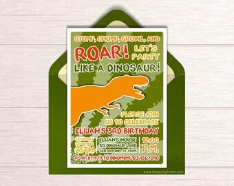 Dinosaur Birthday Invitation - Printable Dino Party Invite - Jurassic Themed Party Ideas - Roar Party Like A Dinosaur Package - BP77