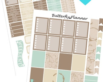 Coffee Addict Printable Planner Stickers, 2 Pages, Digital Download