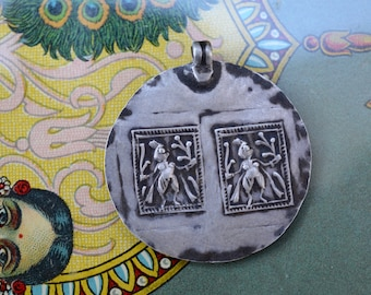 Silver tribal Mother Goddess pendant vintage Indian hindu amulet yoga divine woman herbal magical charm Indian necklace old ethnic