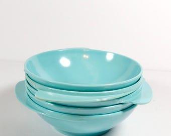 Turquoise Melamine Cereal Bowls Atomic Sky Blue Set of 5 Melmac Glamping