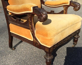 American Rosewood carved and gilt decorated parlor chair c1870