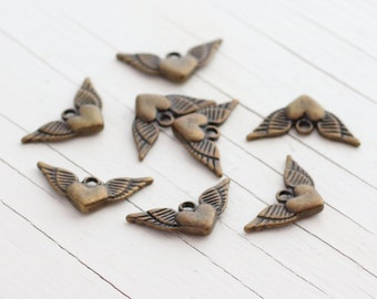 Winged Heart Charms - Antique Bronze - 13x25mm - 8 Charms