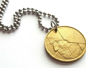 Belgie Coin Necklace  - Stainless Steel Ball Chain or Key-chain - Belgium