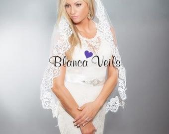 Lace Wedding Veil, Sequined Lace Veil