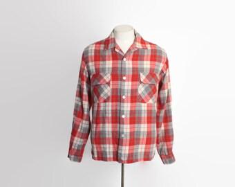 Vintage 60s PLAID SHIRT / 1960s Red Plaid Wool Mens Loop Collar Shirt M