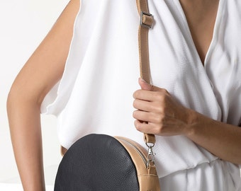 Leather Round Pouch in black and white, Cross body bag RCB01 - Free standard shipping