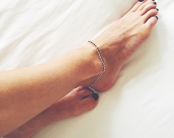 Beaded chain anklet - Boho anklet - Layering anklet - Ankle bracelet - Foot jewelry - Beaded ankle bracelet - Bohemian jewelry - Ethnic