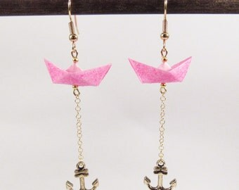 Origami boats earrings *WAVE* Pink boats | Paperboats | Papercraft | Origami boats | Origami jewelry | Made in France | Origami earrings