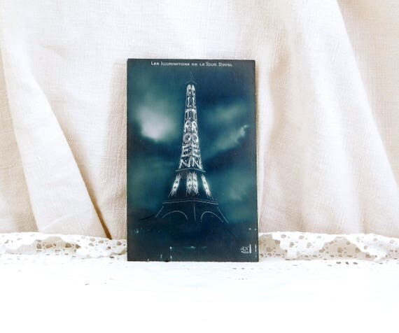 Unused Antique French Black and White Postcard, Eiffel Tower Illuminated by Citroen, Paris, French Decor, Shabby, Chic, Parisian, Brocante