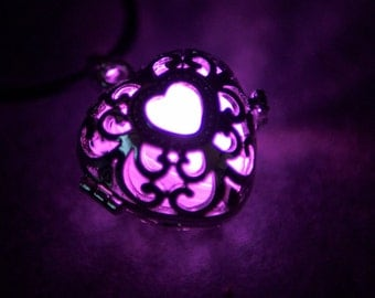 Silver Glow In The Dark Pendant Filigree Heart Locket, Available In 13 LED or UV Glow Colours