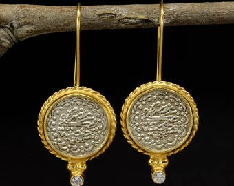 Handcrafted Artisan 24K Yellow Gold over 925 Solid Sterling Silver, Ancient Art Designer Ottoman Coin Dangle, Hook Cubic Zirconia Earrings
