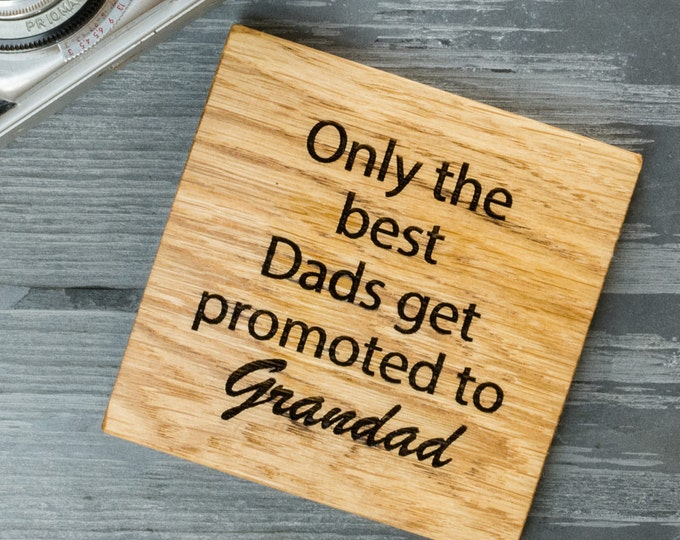 Featured listing image: Fathers Day Oak Coaster Gift - Gift for Dad - Personalised Grandad Gift - Gift for Him - Beer Coaster - Wooden Coaster- Pregnancy Reveal