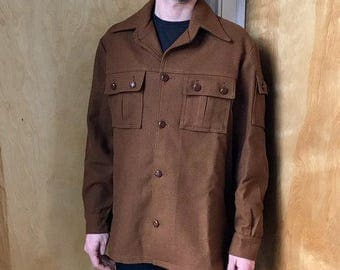 Brown Wool Military Style Button-Down