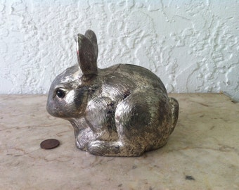 Reed and Barton, Silverplate, Bunny Bank, Tarnish Resistant, Rabbit Bank, Circa 1989, Baby Gift, Easter Gift, Vintage,  Free Shipping
