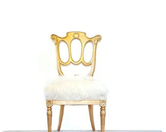 Gold Gilt Side Chair ~ Vintage Faux Fur Neoclassical Gold Chair ~ Hollywood Regency