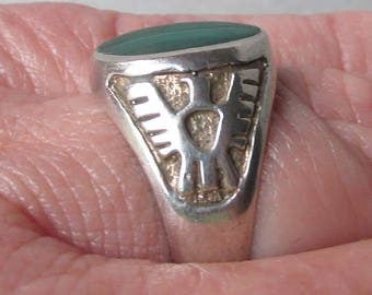 Vintage Native American Sterling Silver Malachite THUNDERBIRD Ring, Size 9