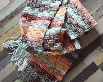 Basket Weave Stitch Scarf | Crochet Scarf | Multicolor Scarf | 200 cm long with fringe