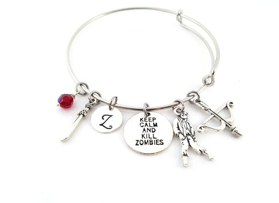 Zombie Bracelet -  The Walking Dead Inspired Adjustable Bangle - Birthstone Bracelet - Personalized Jewelry - Gift For Her