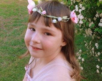 Baby girl wreath, baby flower photo prop, newborn, birthday photo prop, floral crown, garland flower