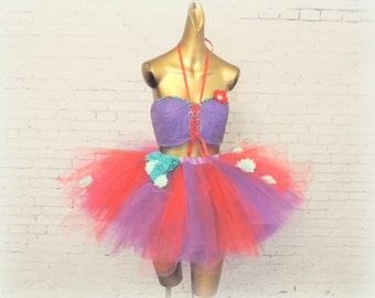 adult tutu outfit red purple green edc edm rave burning man festival wear cosplay comicon halloween mermaid costume