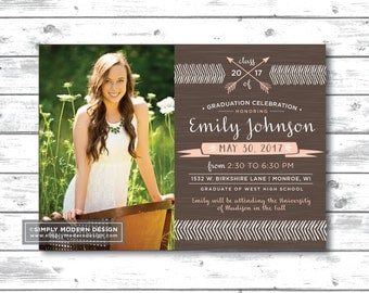 graduation announcement or invitation, rustic graduation invitation, graduation party, college announcement, PRINTABLE or PRINTED CARDS