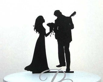 Wedding Cake Topper - Guitar Player, Musician and Bride silhouette