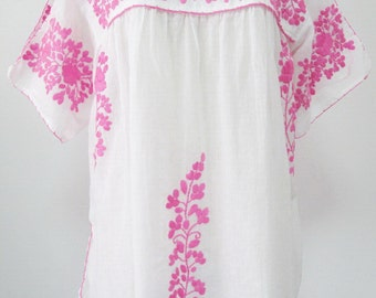 Mexican Embroidered Blouse Cotton Top In White, Boho Blouse, Peasant Top, Gypsy Blouse