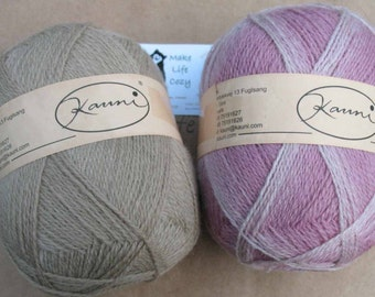 Pink White Beige Kauni EJ 2 ply wool sport weight yarn. Imported from Denmark. Knit Crochet and Felt. Ships from USA