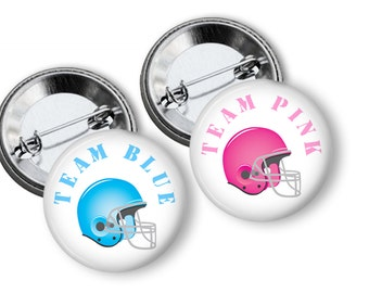 Football Helmets Team Pink Team Blue Gender Reveal Party Favor 1.25 inch Pin Back Buttons Set of 20