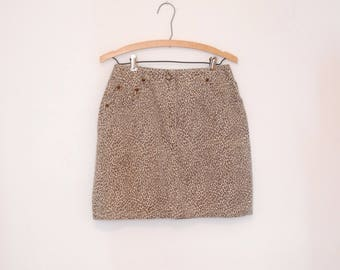Lightweight Denim Cheetah Print Mini-Skirt - Early 90s