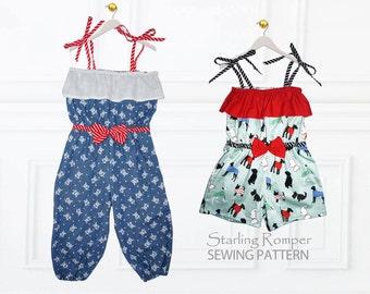Girls Romper Pattern, Girls sewing pattern PDF, Childrens sewing pattern,  Pants pattern, Shorts Pattern, Sewing Pattern PDF, STARLING