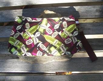 Wine Bottles Wristlet - Clutch Handbag Purse -Riesling Chardonnay Pinot Noir Merlot - Swoon Coraline