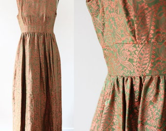 1960s copper tapestry gown // 1960s brocade dress // vintage dress