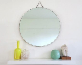Vintage Art Deco Round Mirror Large