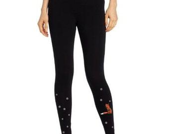 Black leggings, festive women leggings, Fox in the snow, present for her, hand painted apparel