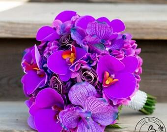 Purple wedding bouquet, purple orchid bouquet, real touch flowers, hydrangea bouquet, bridal bouquet, tropical wedding bouquet, destination