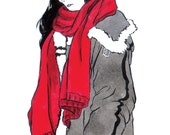 Girl in a Red Scarf Fashion INKtober Art Print, Original Ink Print, Original Artwork Print, Fashion Print, INKtober Print