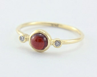 Red Garnet and Diamond Ring 14k Yellow Gold Natural Garnet Diamond Gold Ring Made in Your Size Red Garnet Diamond Engagement Ring