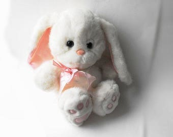 1989 Easter Bunny Large White Rabbit Plush Pink Satin Ears Ribbon Bow Vintage Alice in Wonderland Commonwealth Toy & Novelty Co. Spring Gift