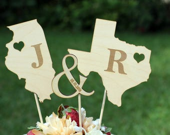 Rustic Wooden States Country Wedding Cake topper - Wooden cake topper - Personalized Cake topper