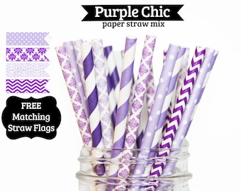 25 Purple Lavender wedding Paper Straw Mix  PAPER STRAWS birthday party bridal shower event cake pop sticks sofia the first