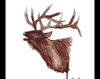 Elk art original watercolour elk painting elk illustration woodland animal wildlife mus art elk painting